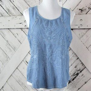 Lucky Brand Chambray Sleeveless Embroidered Top